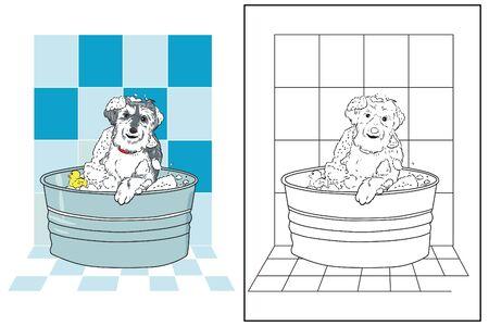 coloring page dog bath in bathroom vector
