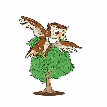 owl flying on cherry tree vector