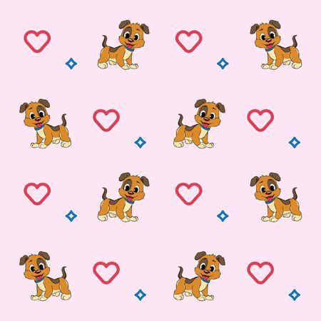 pattern love cute brown dog vector