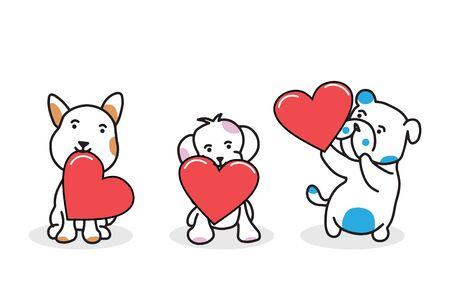 tree dogs holding red love vector Illusztráció