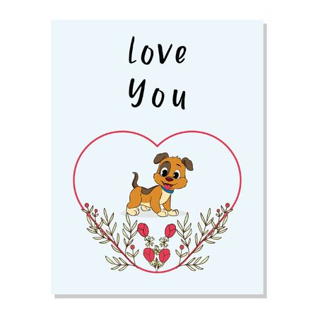 valentine card with cute dog floral frame vector