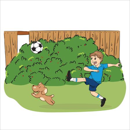 boy playing ball with his dog in garden vector