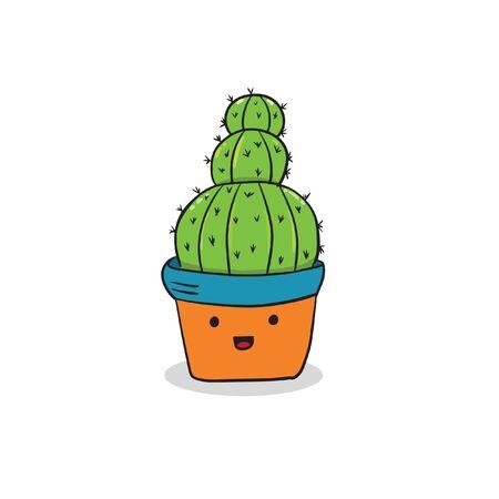 cute cactuse doodle smile vector