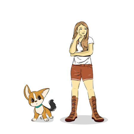 cute girl with her cute dog vector