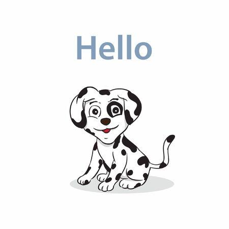 hello little cute dalmation vector