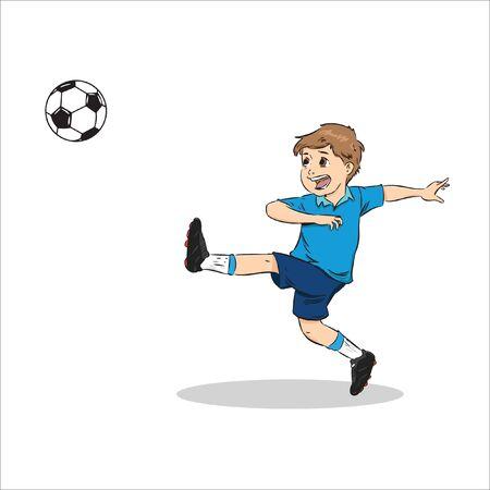 little boy kick a ball happily vector