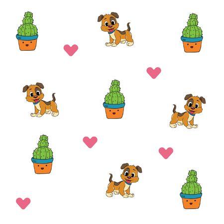 pattern cactus dog love minimalist background vector