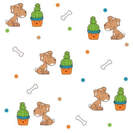 pattern cute dog wit his cactus bone ball vector
