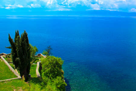 View of the water surface of Lake Ohrid in Macedonia