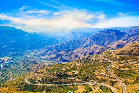 Nice view of the mountain streamers and terraces in Yemen