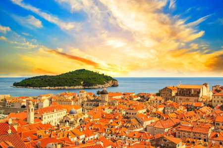 Beautiful view of the historic Dubrovnik, Croatia, at sunset