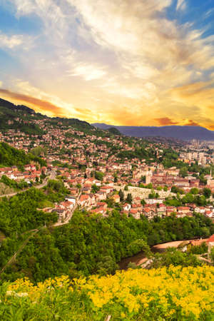Beautiful view of the city of Sarajevo, Bosnia and Herzegovina, on the Sunset