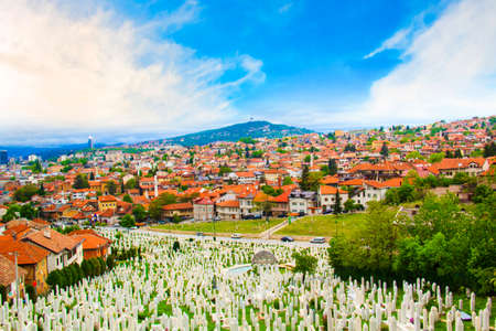 Beautiful view of the Muslim cemetery in the city of Sarajevo, Bosnia and Herzegovina, on a sunny day