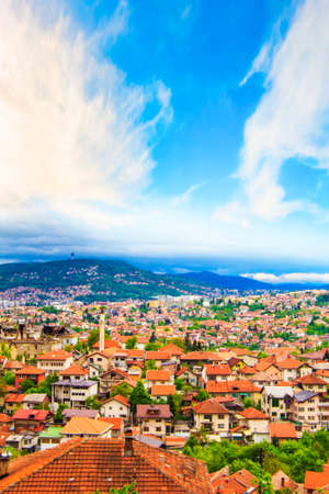 Beautiful view of the city of Sarajevo, Bosnia and Herzegovina, on a sunny day
