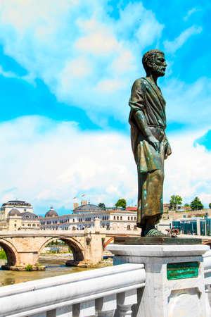 Sculptural ensemble near the Skopje Archaeological Museum overlooking the Stone Bridge, Macedonia Stock Photo