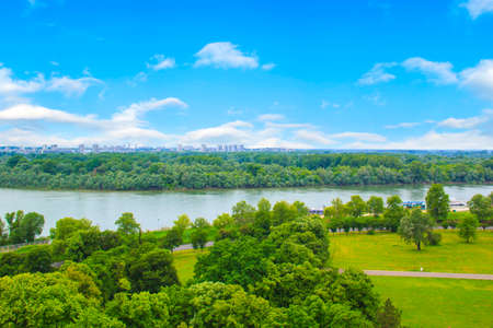 balkans: Beautiful view of the park near the fortress Kalemegdan over the river Savva in Belgrade, Serbia, on a sunny day Editorial