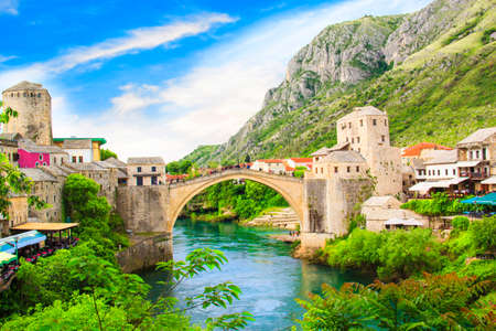 Beautiful view Old bridge in Mostar on the Neretva river, Bosnia and Herzegovina, on a sunny day Stock Photo