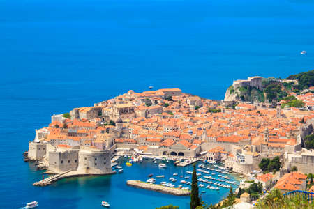 Beautiful view of the historic city of Dubrovnik, Croatia on a sunny day.