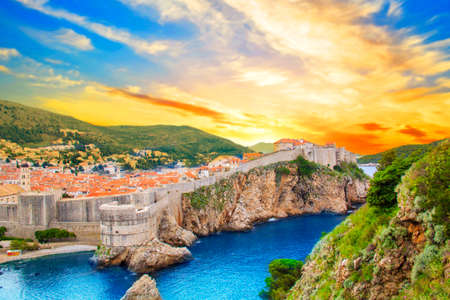 Beautiful view of the fortress wall and the gulf of the historic city of Dubrovnik, Croatia on a sunny day.
