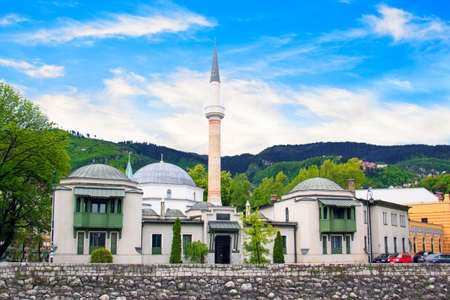 Beautiful view of the Emperors Mosque in Sarajevo on the banks of the Milyacka River, Bosnia and Herzegovina