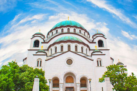 belgrade: Beautiful view of the temple Sava in Belgrade, Serbia on a sunny say Stock Photo