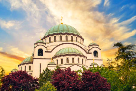 Beautiful view of the temple Sava in Belgrade, Serbia on a sunny say Stock Photo