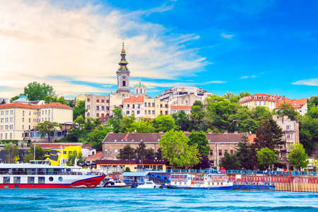 Beautiful view of the historic center of Belgrade on the banks of the Sava River, Serbia Éditoriale