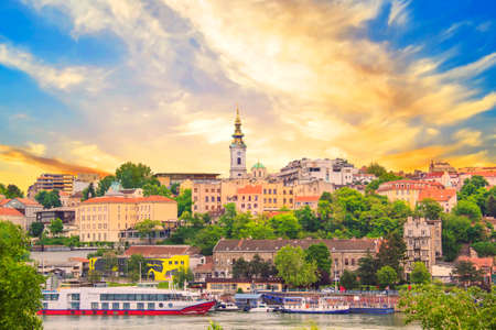 Beautiful view of the historic center of Belgrade on the banks of the Sava River, Serbia Editorial