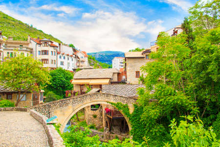 Beautiful views of the Brankovac Historic District of Mostar in Bosnia and Herzegovina Stock Photo