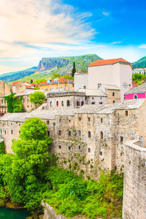 Beautiful views of the historic architecture of Mostar, Bosnia and Herzegovina