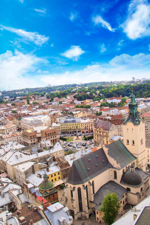 Beautiful view of the Town Hall Tower, Adam Mickiewicz Square and the historical center of Lviv, Ukraine Stock Photo