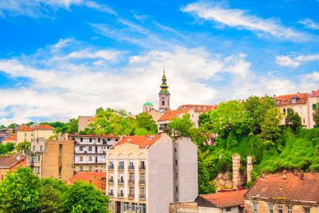belgrade: Beautiful view of the historic center of Belgrade on the banks of the Sava River, Serbia Stock Photo