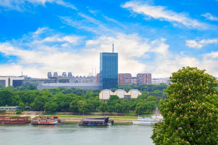 city park skyline: Beautiful view of the park near the fortress Kalemegdan over the river Savva in Belgrade, Serbia, on a sunny day Stock Photo