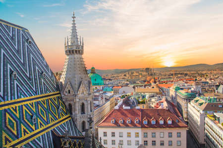 View of the city from the observation deck. Stephens Cathedral in Vienna, Austria