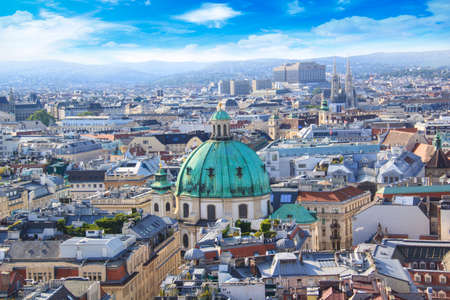 View of St. Peters Cathedral from the observation deck Stephens Cathedral in Vienna, Austria Stok Fotoğraf