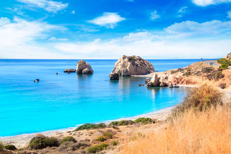 Beautiful view of the birthplace of Aphrodite in Cyprus. Petra tu Romiou, Stone of Aphrodite 스톡 콘텐츠