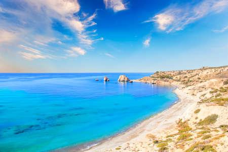 Beautiful view of the birthplace of Aphrodite in Cyprus. Petra tu Romiou, Stone of Aphrodite Archivio Fotografico
