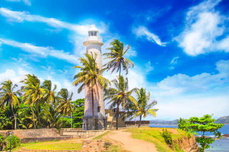 Beautiful view of the famous lighthouse in Fort Galle, Sri Lanka, on a sunny day Stock Photo
