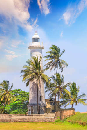 Beautiful view of the famous lighthouse in Fort Galle, Sri Lanka, on a sunny day Éditoriale