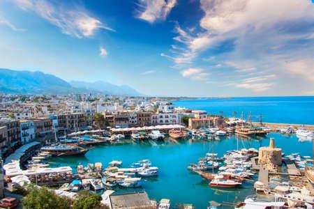 Beautiful view of the Kyrenia Bay in Kyrenia (Girne), North Cyprus Фото со стока - 91043877