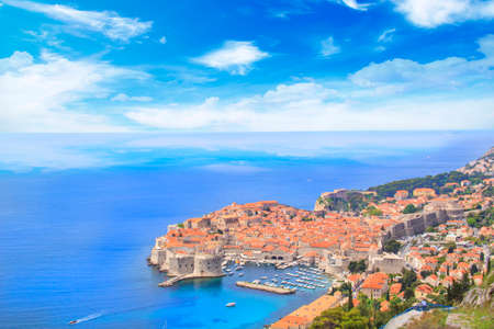 Beautiful view of the historic city of Dubrovnik, Croatia on a sunny day Banco de Imagens
