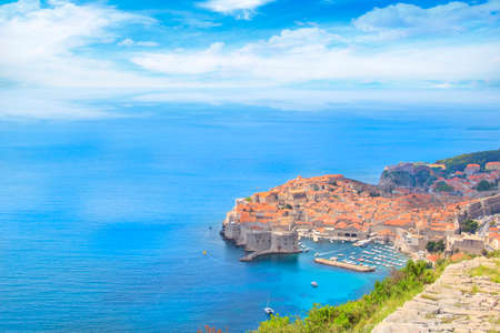 Beautiful view of the historic city of Dubrovnik, Croatia on a sunny day