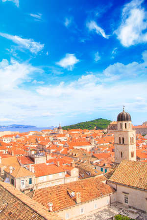 Beautiful view of the bell tower and the island Lokrum in the old town of Dubrovnik, Croatia Stock Photo