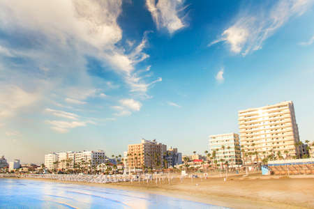 Beautiful view of the main street of Larnaca and Phinikoudes beach in Cyprus Banque d'images