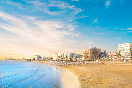 Beautiful view of the main street of Larnaca and Phinikoudes beach in Cyprus Imagens