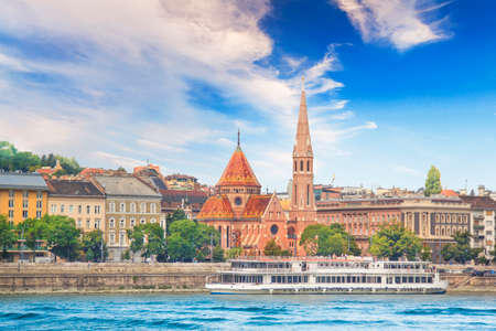 A stark view of the Fishermens Bastion, the Church of St. Emperor in Budapest, Hungary Stock Photo