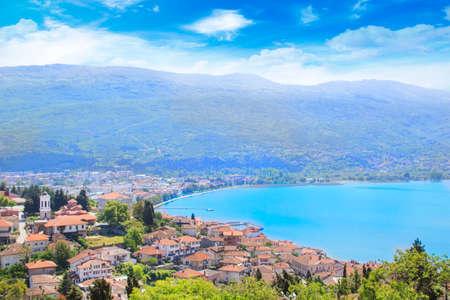 Beautiful view of the coast of Lake Ohrid in Macedonia