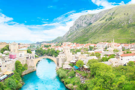 Beautiful view of the medieval town of Mostar from the Old Bridge in Bosnia and Herzegovina