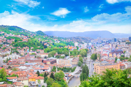 Beautiful view of the city of Sarajevo, Bosnia and Herzegovina Standard-Bild