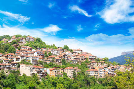 Beautiful view of Tsarevets in the mountains, in Veliko Tirnovo, Bulgaria Standard-Bild